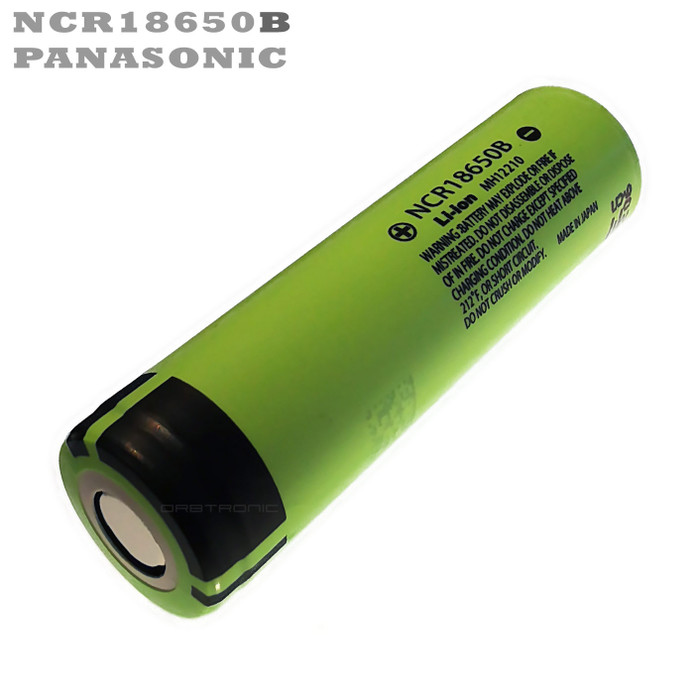 Panasonic 18650 battery ncr18650b 3400mAh green flat top unprotected 3.7V li-ion