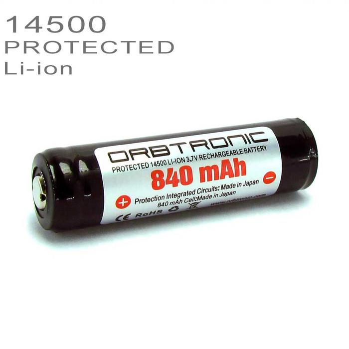 14500 PROTECTED Li-ion Battery 840mAh Rechargeable 3.7V SANYO-PANASONIC cell inside