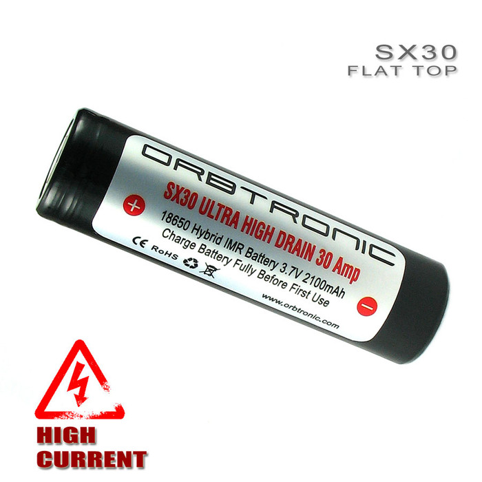 18650 30A Battery Flat Top High Discharge Rechargeable High Drain Orbtronic SX30