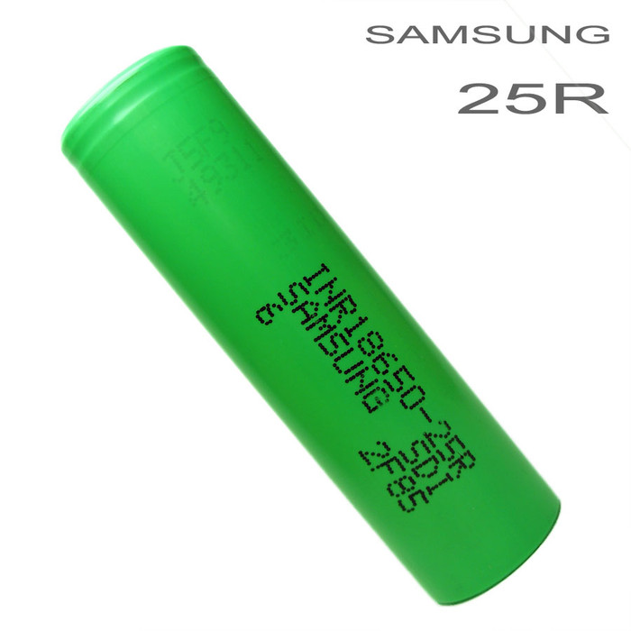 Samsung 25R Green 2500mAh 18650 Battery High Drain Li-ion INR18650-25R - Flat Top - Battery case Included