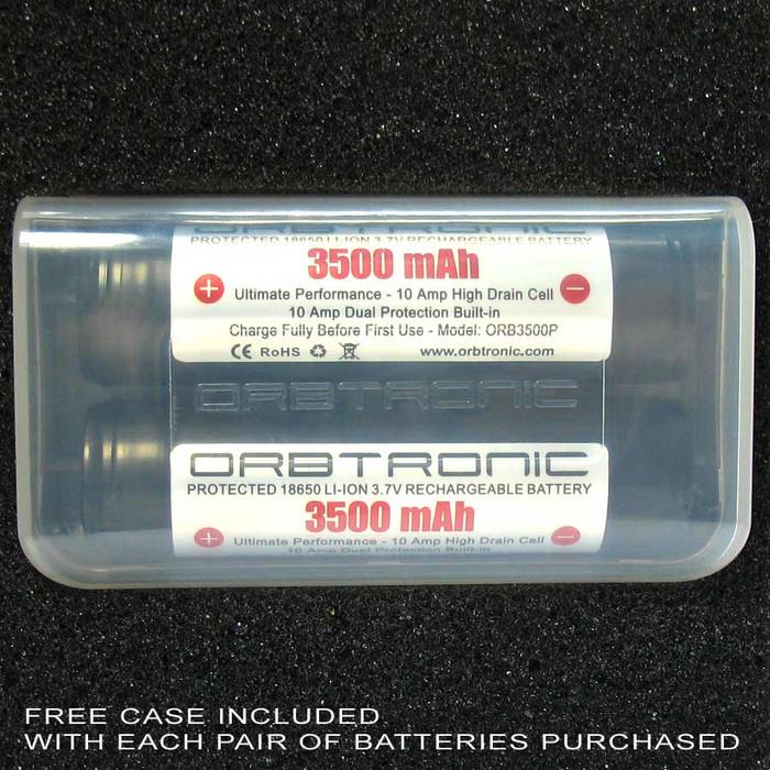 18650 3500mAh Protected Battery Li-ion 3.7V Rechargeable Orbtronic case holder