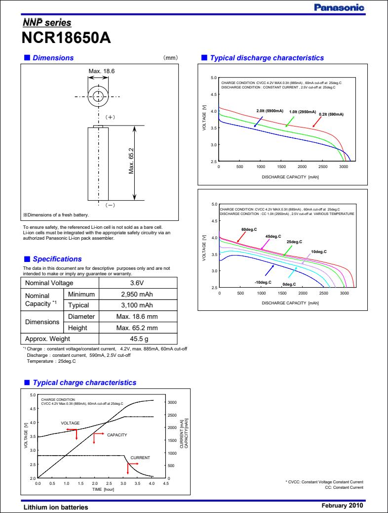 Panasonic ncr18650a datasheet specs SANYO 18650 battery specifications