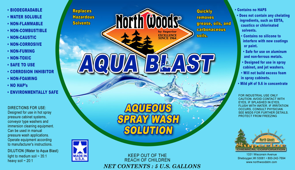 Aqua Blast Solvent Free Cleaner for Industrial, Automotive or Aircraft Component Cleaning