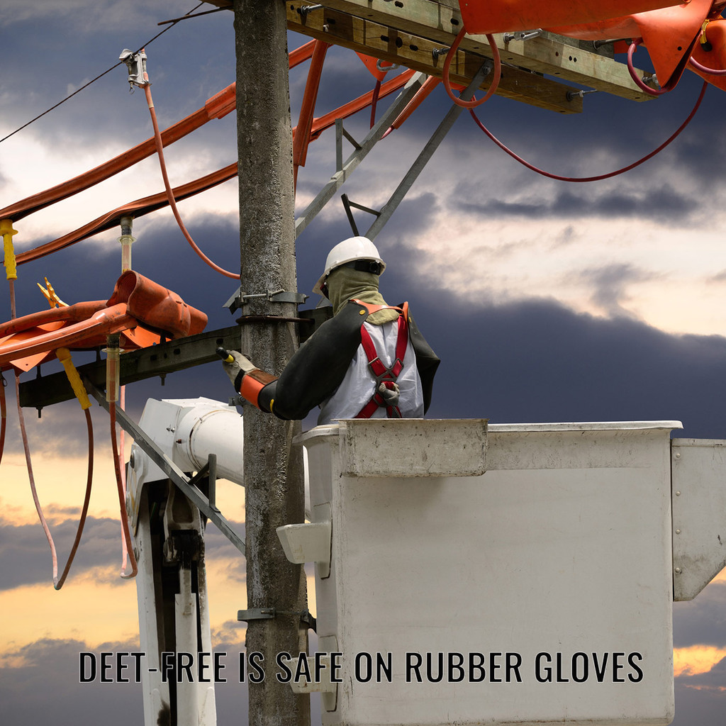 DEET Free is safe on rubber gloves