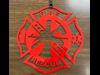 Metal Fire Fighter Cross Ornament