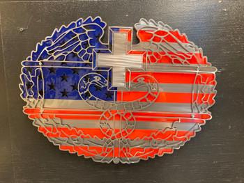 Medical Combat Logo with USA Flag Background