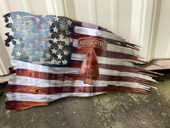 "24""x14"" USASOC Patina Battle Worn Flag"