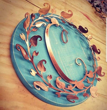 Rustic Letter Monogram with Wood Backing