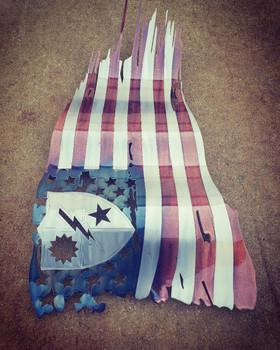 "24"" x 14"" Patina 75th Ranger Regiment Battle worn flag"