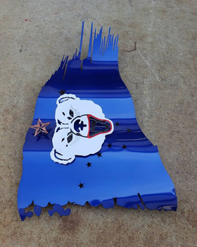 "Alaska Battle Worn Flag 24"" x 14"" / Binky Bear"
