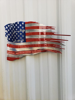 "24""x 14"" Painted Battle Worn Flag"