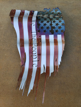 "Battle Worn ""We The People"" Patina 46""x27"" Flag"