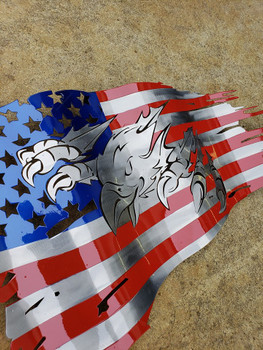 "24"" x 14"" Bald Eagle Battle Worn Flag"