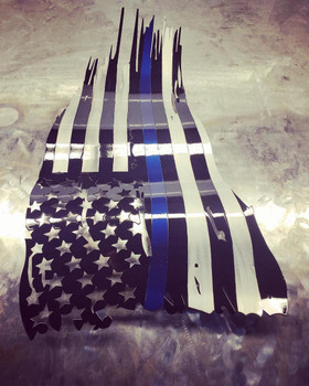 """24"""" x 14"""" Subdued Blue or Red line Battle worn flag"""