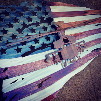"24"" x 14"" Apache Patina Battle Worn Flag"