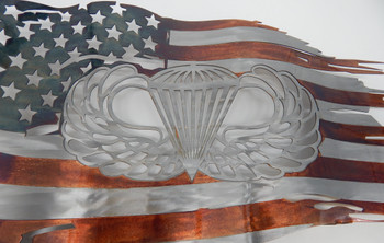 "24"" x 14"" Patina Jump wings Battle worn flag"