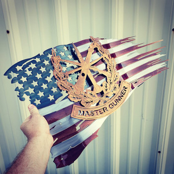 "24""  x 14"" Patina Master Gunner Battle Worn Flag"