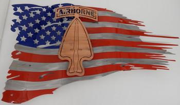 "24"" x 14"" Painted USASOC Battle Worn Flag"
