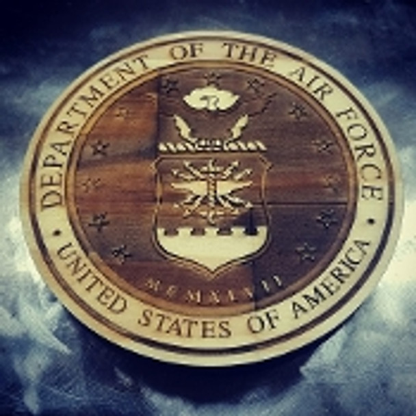 "7"" Wood Department of the Air Force Seal"