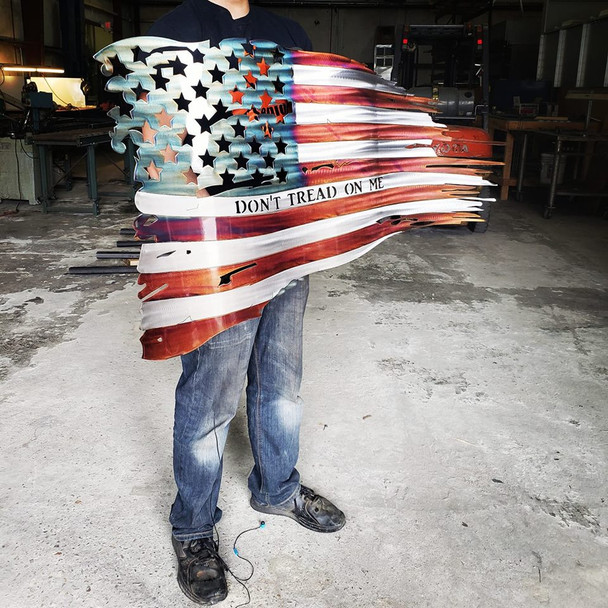 "46"" x 27 Patina ""Dont Tread On Me"" Battle Worn Flag"