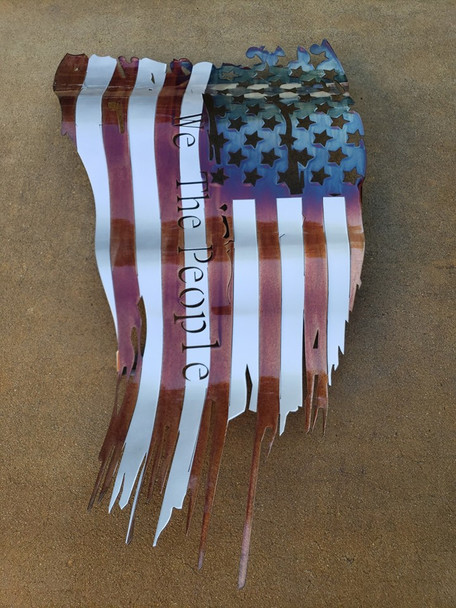 """Battle Worn """"We The People"""" Patina 24""""x14"""" Flag"""