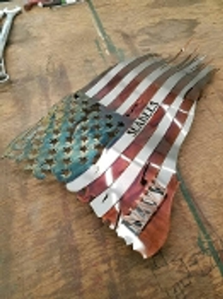 "Battle worn ""seabees"" patina 24"" x 14"" Flag"