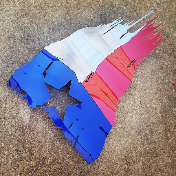 "36"" x 21"" Painted Texas Battle Worn Flag"