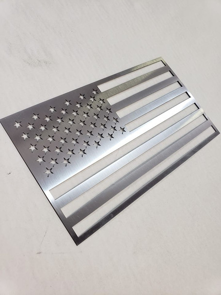"""8"""" x 4.5"""" Stainless Steel USA Flag"""