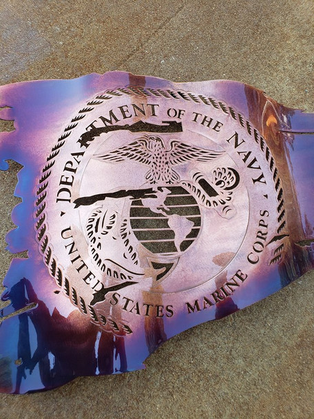 "24"" x 14"" Marine Corps Seal Patina Battle Worn Flag"