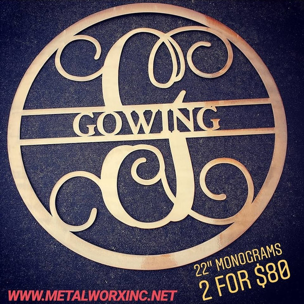 "(2) 22"" Monograms for $80"