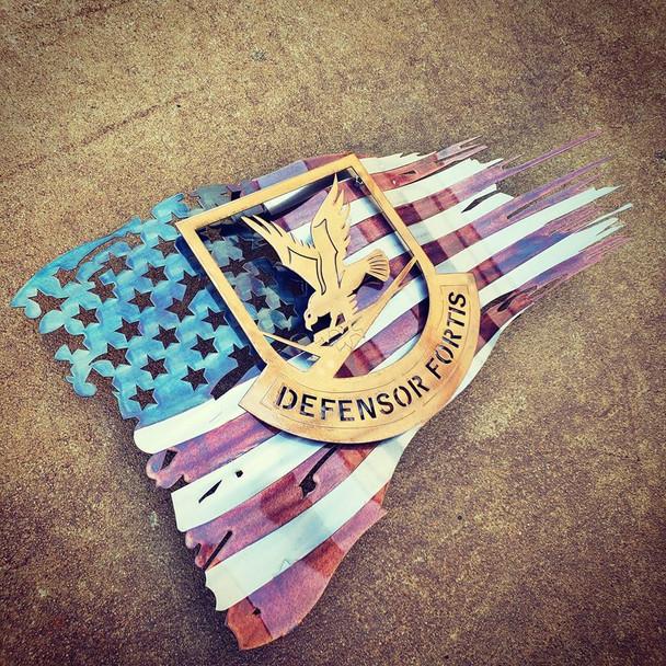 """24"""" x 14"""" Patina """"Defensor Fortis"""" Battle Worn Flag"""