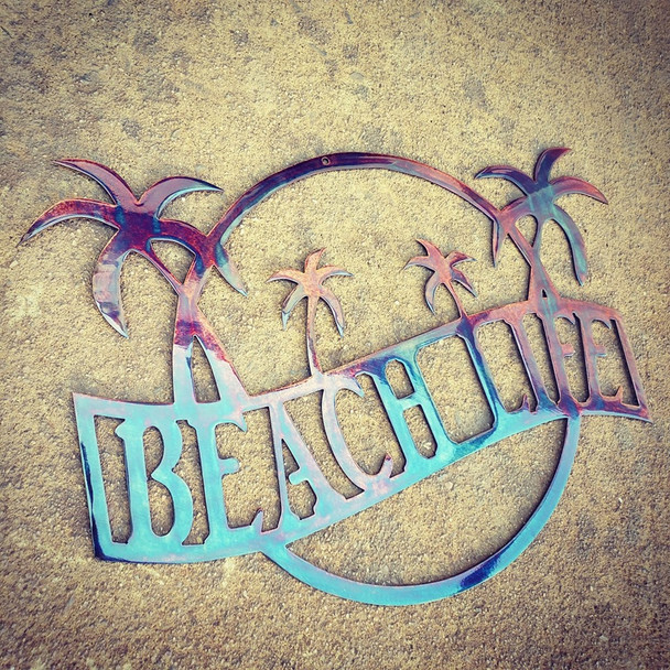 """Beach Life"" Sign (beautiful disaster finish)"