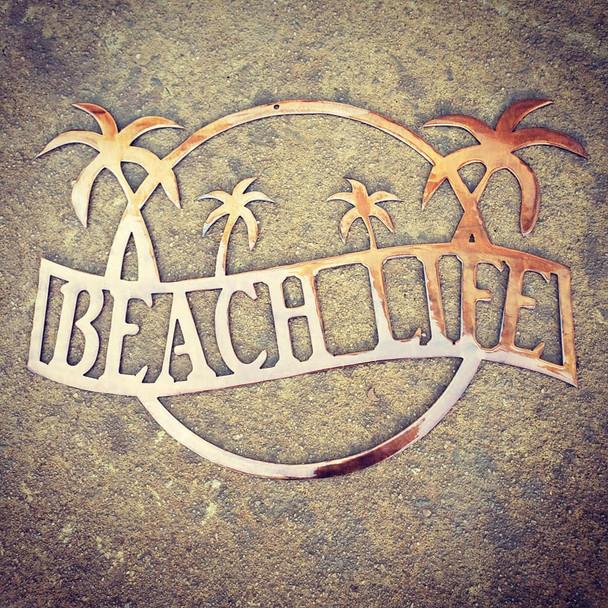 """Beach life"" Sign (gold rust finish)"