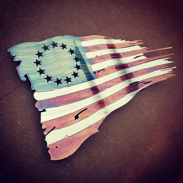 "24"" x 14"" Betsy Ross Patina Battle Worn Flag"