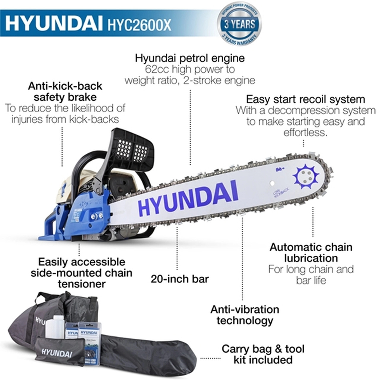 A Chainsaw that is light in weight With a weight of only 7kg with the bar and chain, the HYC6200X is simple to use for extended periods of time without stressing your upper body. Invest in the best chainsaw