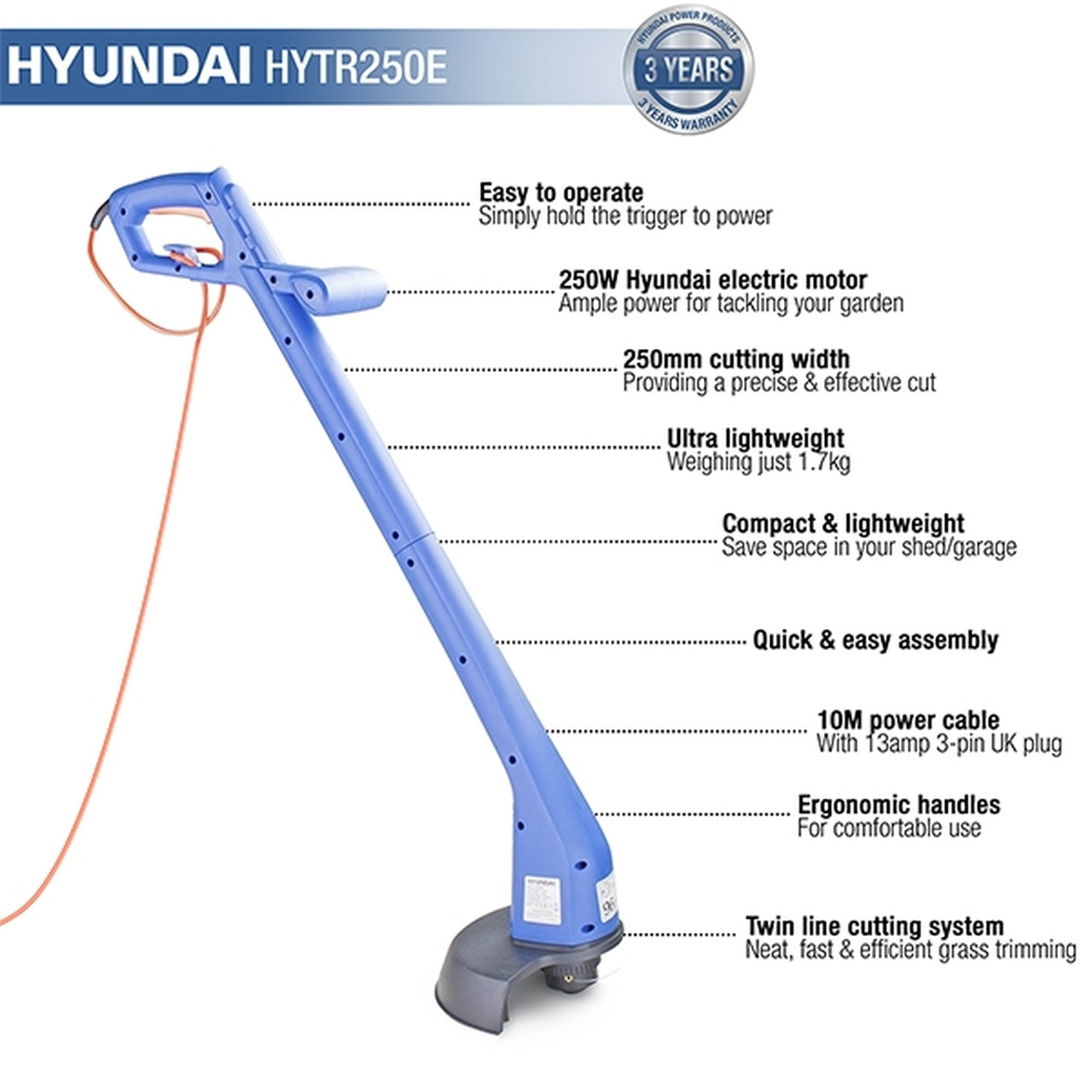 Low-Cost Grass Trimmer for Small to Medium-Sized Gardens The HYTR250E electric strimmer