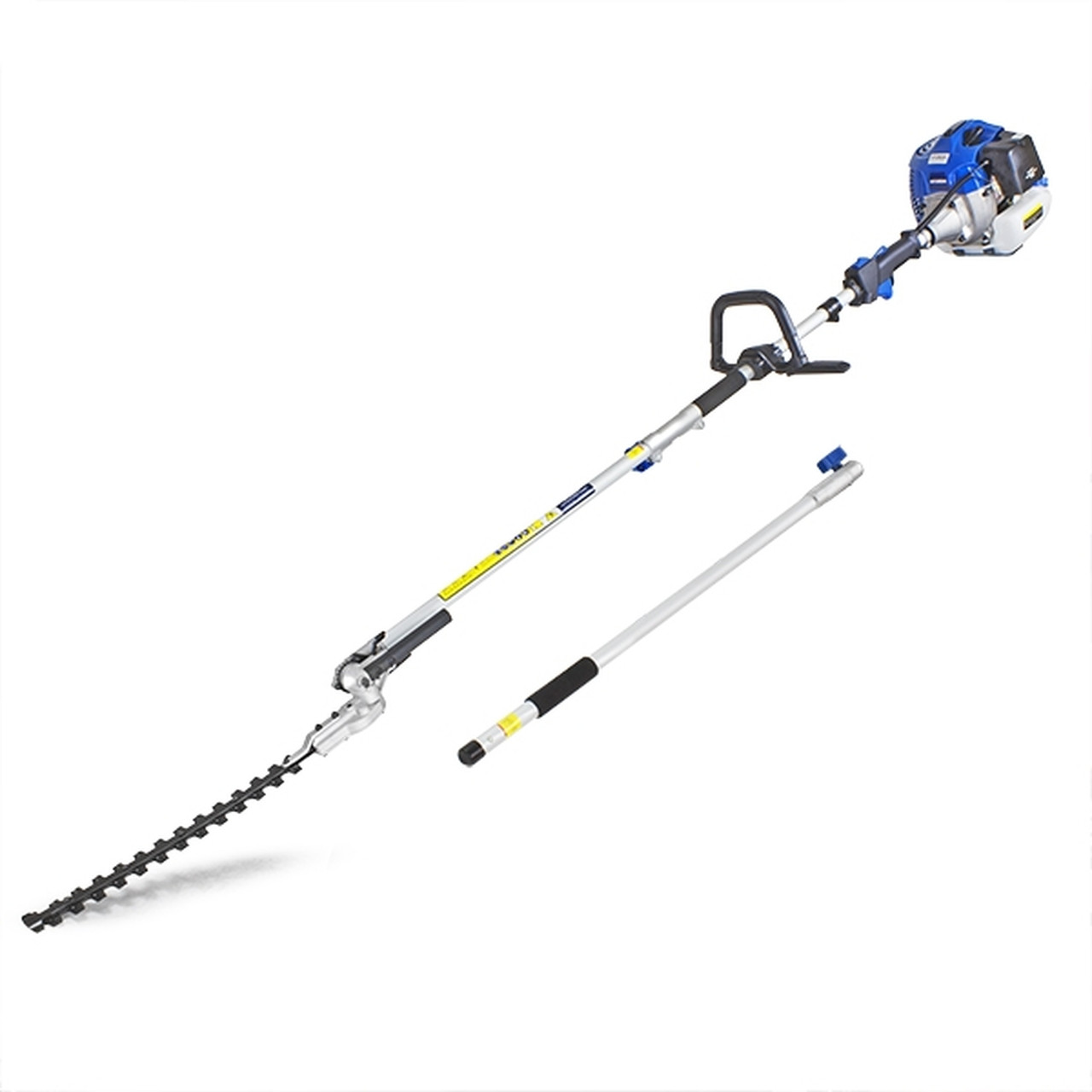 Hyundai's HYPT5200X Long Reach Petrol Pole Hedge Trimmer, Pruner is a 52cc long reach petrol pole hedge trimmer. Designed to produce tremendous cutting power on tall and difficult-to-reach hedges.