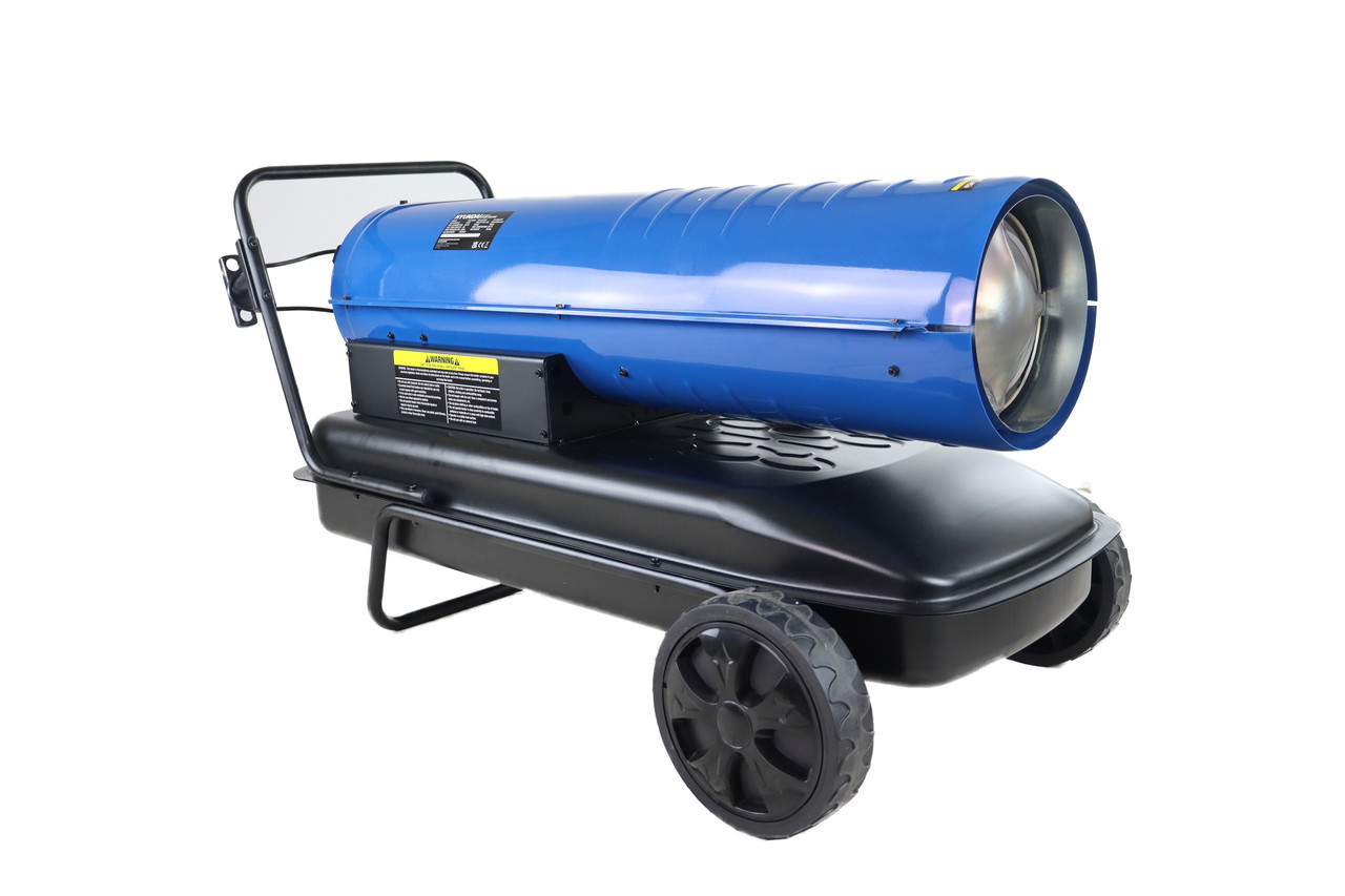 Hyundai 51kW Diesel/Kerosene Space Heater 215,000BTU | HY215DKH  Key Characteristics  Space heater with a BTU rating of 215,000 and a power rating of 51kW: Large garages, factories, and workshops are ideal for heating. Heat is distributed fast and evenly: It has a heating area of approximately 1500m3. Low fuel consumption: A low-cost heating solution for vast areas. Easy to use: Using the thermostat, you can easily adjust the desired temperature. Large fuel tank: A full tank of fuel provides approximately 8.5 hours of heat. Hyundai provides peace of mind with a two-year warranty. Dimensions when assembled: 1100mm560mm590mm Boxed Dimensions 1055mm460mm495mm