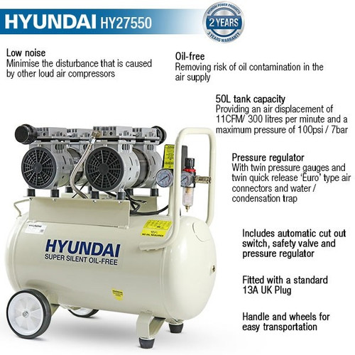 Pressure Pump Solutions: Shop Now for Hyundai HY27550 Air Compressor Buy Lawn and Power Tool Equipment. Low Price, Free UK Delivery, 3 Year Warranty, Excellent Customer Service.