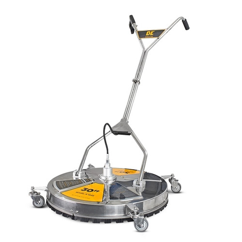 """BE Pressure 30"""" Stainless Steel Whirlaway - 5000PSI Flat Surface Cleaner With Castors. 30"""" large industrial sized cleaning head. Triple arm stainless steel construction. Fitted castors for untimate maneuverability. Operates up to a 5000psi maximum pressure and a maximum flow of 36L/pm. 82°C maximum temperature. Nylon brush skirt & 3 nozzle rotary arm"""