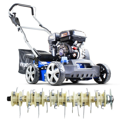 Hyundai 212cc 4-Stroke OHV petrol engine, providing easy starting with low fuel consumption. 400mm working width ideal for small to medium sized lawns. Variable height adjuster controlled by a single adjustment dial +15mm to -15mm.