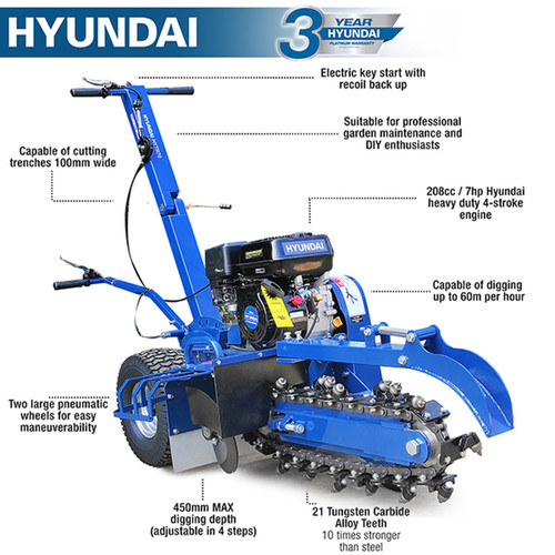 Hyundai 210cc/7hp Petrol Trencher | HYTR70 210cc / 7hp Hyundai heavy duty 4-stroke engine. Two large pneumatic wheels for easy maneuverability. Wheel brake and engine throttle controlled directly from the handle bars.