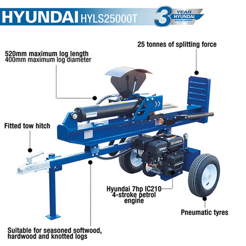 Hyundai's HYLS25000T horizontal/vertical log splitter has a splitting capacity of 25 tonnes. Ideal for cutting and sizing huge volumes of logs in a regular and exact manner.