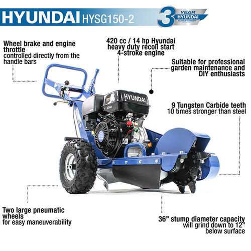The HYSG150-2 is simple to manage, weighing 110kg, thanks to its big adjustable handle bars and heavy-duty pneumatic tyres that keep the machine high over wood chips while in use.