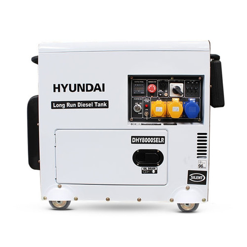 Hyundai 6kW/7.5kVA Long Run Standby Diesel Generator Single Phase | DHY8000SELR  Key Features of the Hyundai 6kW/7.5kVA Long Run Standby Diesel Generator Single Phase | DHY8000SELR  For backup power, rely on a dependable, long-running standby diesel generator. Equipped with a 30L diesel tank for up to 30 hours of running time. A 4-stroke, air-cooled D452 Hyundai diesel engine powers the vehicle. Produces up to 6kW of standby power. ATS capabilities are used to autonomously start and shut down during a power outage. The ATS is available separately. The unit is housed in a hushed casing with a sound level of only 70dB @ 7 metres.