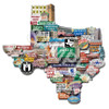 texas montage, texas art, texas artist, austin art, austin art garage, texas forever, mary doerr, images of austin, austin icons, texas decor, dorm room decor, cool wall art, shape of texas,