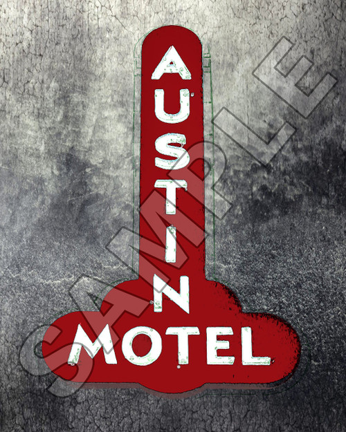 austin texas art prints photos photography wall art posters pop art south congress art gallery shopping gifts austin motel, austin motel sign, south congress, austin, carl walker crum, pop art, austin pop art, austin artist, carl crum red print old austin skyline signs landmarks icons