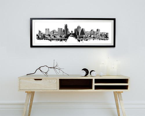 austin skyline, austin texas, austin, black and white, black and white austin, texas capitol, carl walker crum, carl crum, sort of cool, cool art