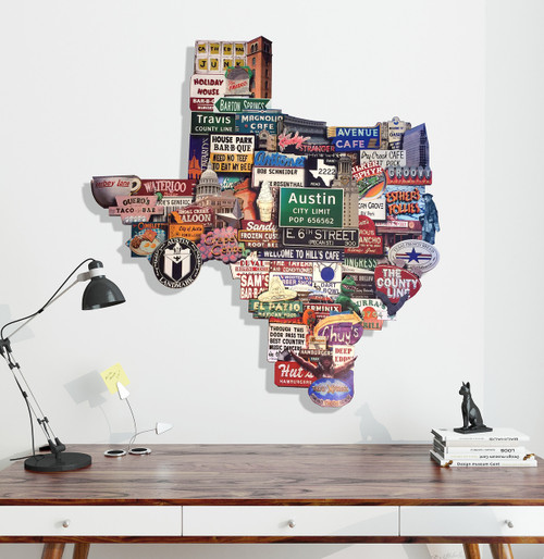 austin photomontage, mary doerr, austin art garage, cool art, sort of cool art, sort of cool, austin icons, texas wall decor, texas nicknames, cool artwork,