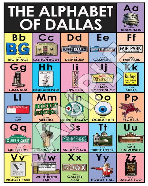 Alphabet of Dallas, dallas alphabet, adams hats, fair park, kubys, dallas eyeball, dallas eye, reunion tower, big texas, white rock lake, meletio electric, egyptian cafe, the egyptian dallas, highland park dallas, granada theater dallas, turtle creek dallas, pegasus dallas, jesus texas and tacos, dallas skyline, dallas farmers market, dallas texas alphabet, abc's of dallas, dallas baby gift, dallas nursery decor infant shopping baby clothes art artists baby galleries museum shopping cute sweet
